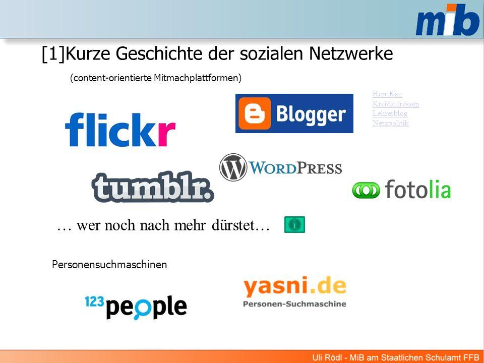 [1]Kurze Geschichte der sozialen Netzwerke (content-orientierte Mitmachplattformen)